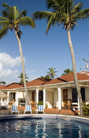big island: infinity swimming pool at resort cabanas Big Corn Island Nicaragua Central America