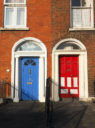 typical colorful house apartment doors Dublin Ireland Europe photo