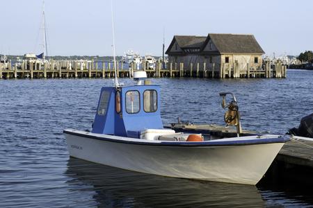 montauk: fishing boat in bay harbor marina Montauk New York USA Atlantic Ocean in the Hamptons