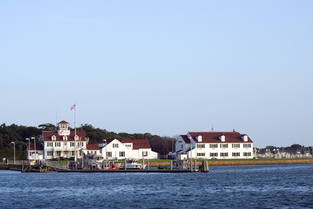 montauk: MONTAUK-JULY 23: The United States Coast Guard Station is seen in the harbor of Montauk, Long Island, New York on July 23, 2014. Editorial
