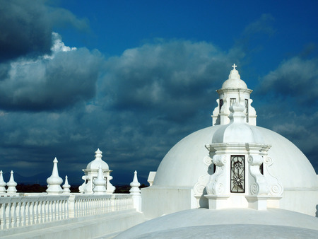 white washed: white washed roof top Cathedral of Leon Nicaragua Central America