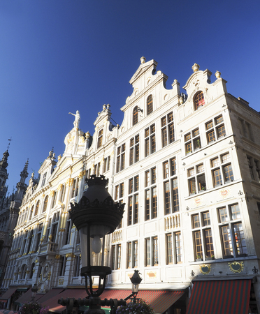 guildhall: detail of guildhall in Grand Place or Grote Markt Brussels Belgium  Editorial