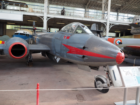 mk: Gloster Meteor MK VIII historic, antique fighter airplane on display at the Royal Museum of the Armed Forces and of Military History in Cinquantenaire Park Brussels, Belgium