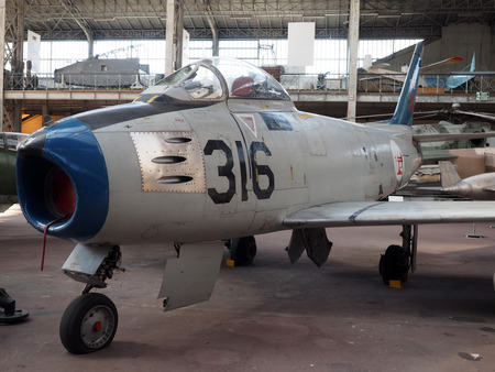 F-86 F SABRE military aircraft on display at Brussels Belgium