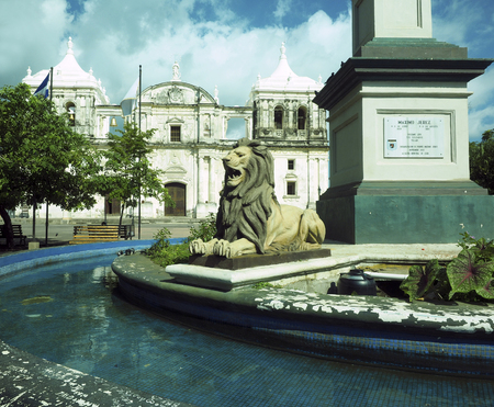 maximo: lion state in fountain by statue Maximo Jerez Cathedral of Leon Nicaragua Central America