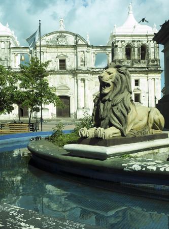 lion state in fountain by statue Maximo Jerez Cathedral of Leon Nicaragua Central America