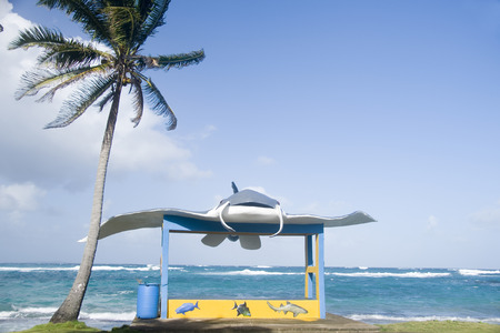 new bus stop with stingray sculpture on main road Sally Peachie Corn Island Nicaragua Central America on Caribbean Sea