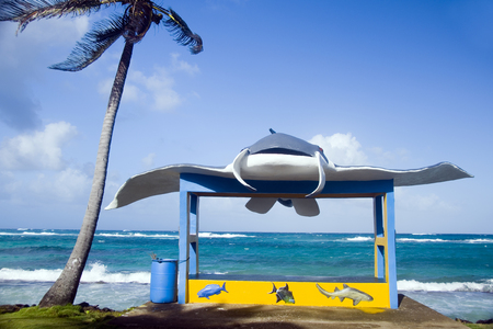 new bus stop with stingray on main road Sally Peachie Corn Island Nicaragua Central America on Caribbean Sea