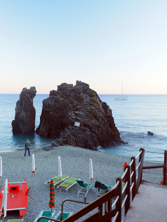 Monterosso, Liguria, Italy, Cinque Terre, landmark rock on the beach Europe