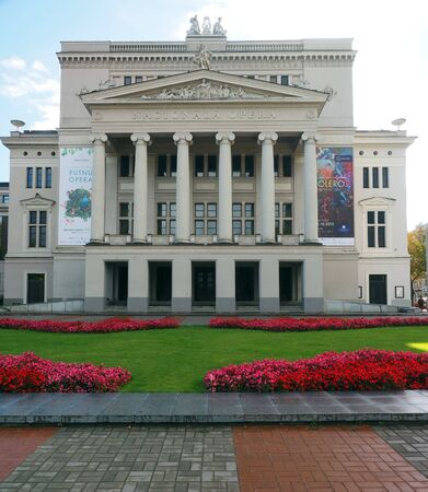 RIGA, LATVIA-SEPT. 27: The National Opera House and gardens are seen in Riga, Latvia, Europe on September 27, 2015. Редакционное