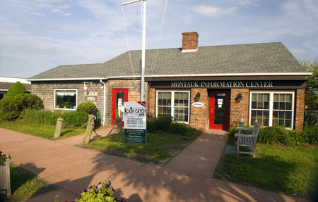 MONTAUK, NEW YORK-JUNE 8:  The Information Center Chamber of Commerce building is seen on June 8, 2018 in The Hamptons, Montauk, New York.