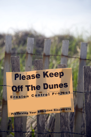 Keep off dunes erosion control sign Montauk, New York