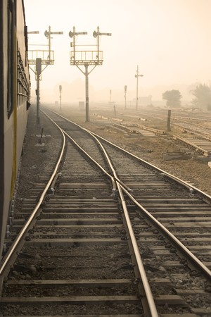Side view from a train at India Stock Photo