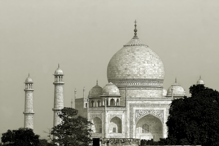 different view from the beautiful wonder of the world Taj Mahal, Agra, India