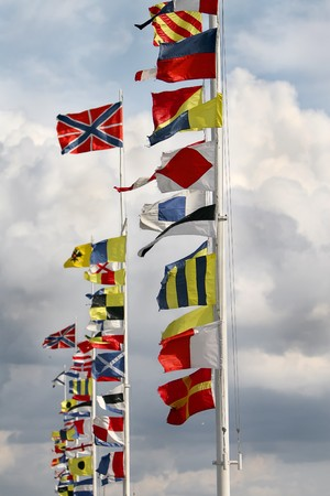 International Flags at a windy day