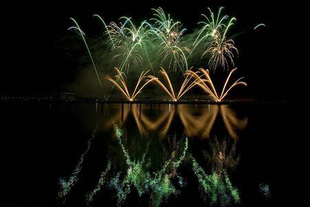long exposure: long exposure of multiple fireworks against a black sky