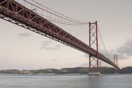 bridge over Tagus River at Lisbon, Portugal Stock Photo
