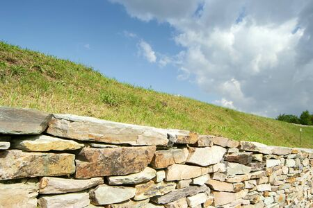 fresh landscape at alentejo with a rock wall, Portugal Stock Photo