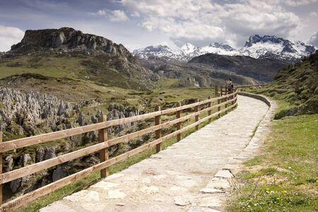path along a mountain at Covadonga Lake, Spain Stock Photo