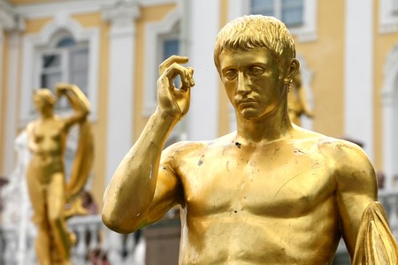 Detail gold statue on fountains at Peterhof, St Petersburg, Russia Stock Photo