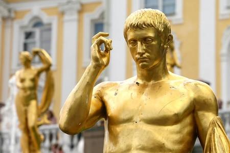 peterhof: Detail gold statue on fountains at Peterhof, St Petersburg, Russia Stock Photo
