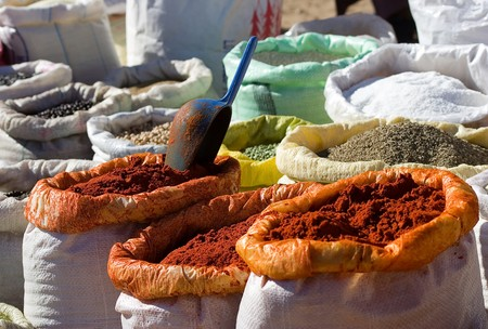 Cooking spices on sale in a city market at Marrakesh, Morocco photo