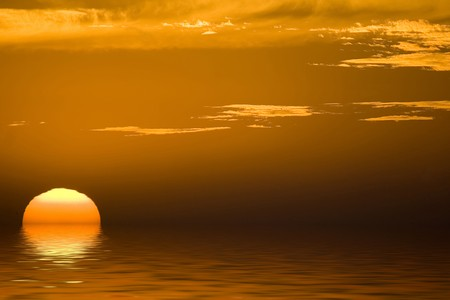 beautiful african sunset at Morocco with a big sun