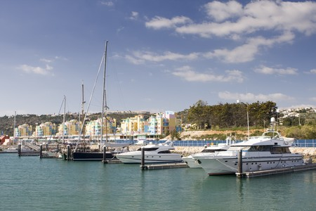 Fun, Sun and Wind - Yachts in Albufeira marine, south of Portugal (no logos and brands) Stock Photo