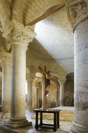 Magnificent interior church. Abadia Sant Antimo, Siena, Italy