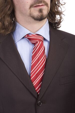detail of a business man suit with colored tie photo