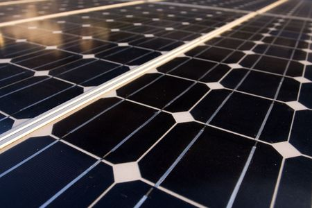 photoelectric: Texture detail of photoelectric cells of a solar panel (Blue and ecology energy) - shallow DOF  Stock Photo