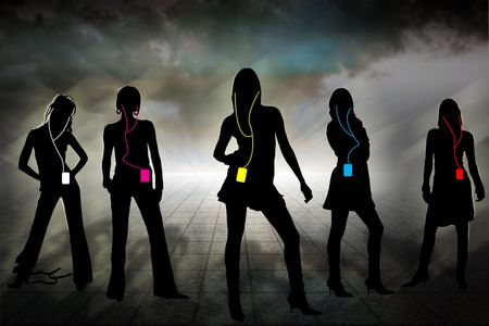 five individual silhouettes of women in cloudy horizon