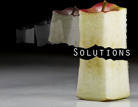 deliciously: Deliciously juicy cut apple with stem on background
