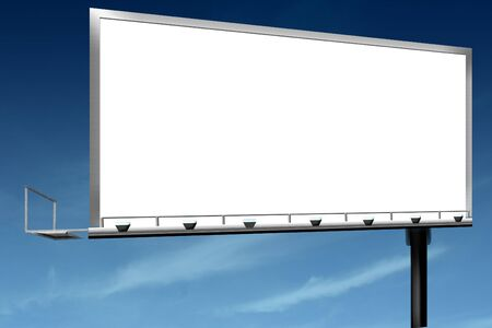 Marketing sales outdoor sign billboard against blue sky Stock Photo