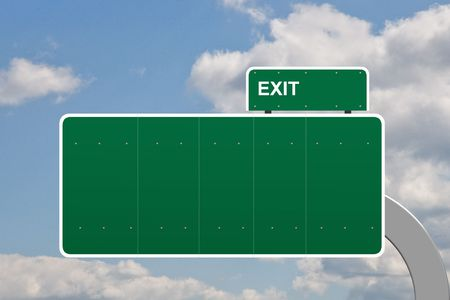 Blank no text on a road sign exit Stock Photo