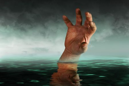 vanish: Concept image Drowning hand depicting business going under