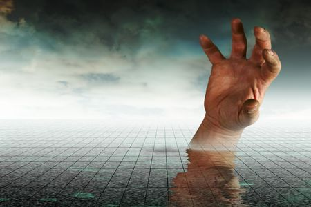 Concept image Drowning hand depicting business going under