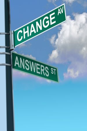 answers highway: Business slogans on a road and street signs sign exit Stock Photo
