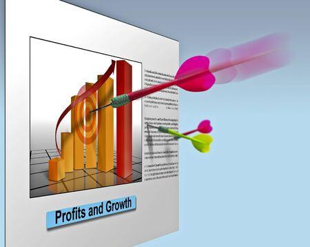 Business staafdiagram op de muur met darts gegooid op ir Stockfoto