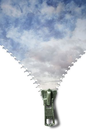 Concept image of a zipper and cloudscape Stock Photo - 2836544