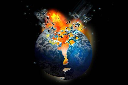 Firey exploderende planeet in brand gestoken in de ruimte Stockfoto