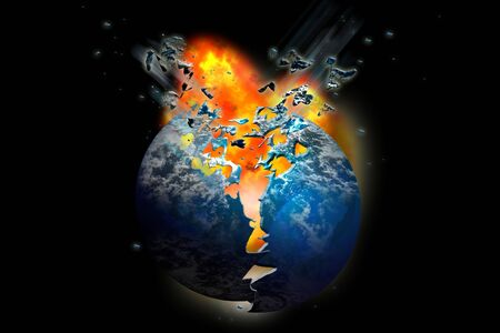 Firey exploding planet set on fire in space Standard-Bild