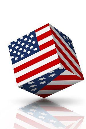 Een kubus Amerikaanse vlag op wit met schaduwen