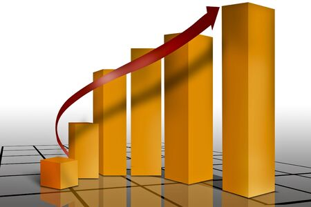 leger: Typical sales or progress graph set on a grid with reflections Stock Photo