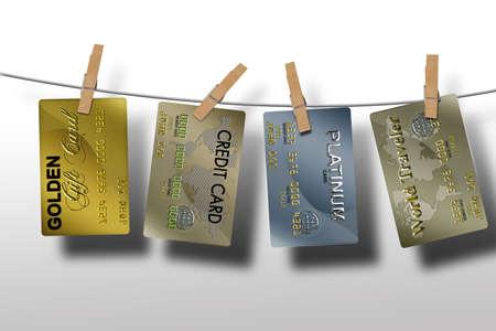 typische plastic creditcards met vervaldatum en sloten
