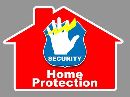 Illustration of a house with a logodenoting security