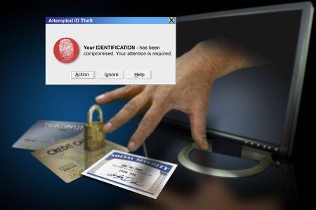 Diefstal van identiteit op het web met credit cards en de sociale zekerheid Stockfoto