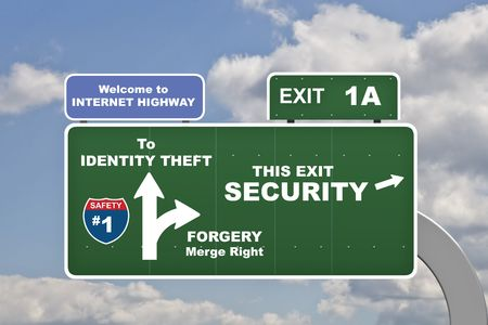 unauthorized: Various concept identy theft labels on signs