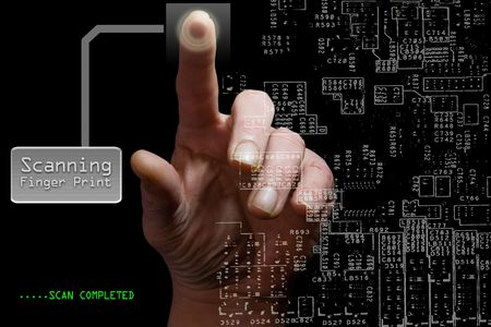 encode: Finger print scanner with circuit board and hand