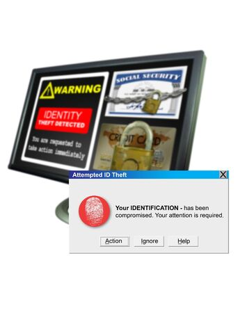id theft: Windows ID Theft alert window with screen in background